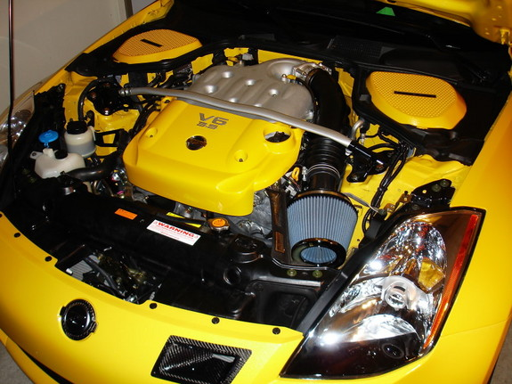 Yellow 350z Roadster Custom Paint On Engine Battery And Master Cylinder Plastic Covers